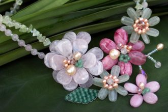 Cultured pearl and rose quartz beaded necklace, 'Eden'