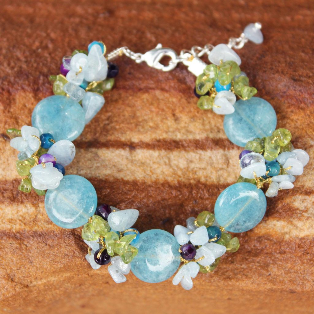 Beaded Agate and Quartz Bracelet, 'Peony Romance' Sterling Silver NOVICA Fair Trade jewelry