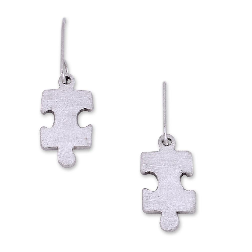 Handcrafted Modern Fine Silver Dangle Earrings, 'Puzzle'