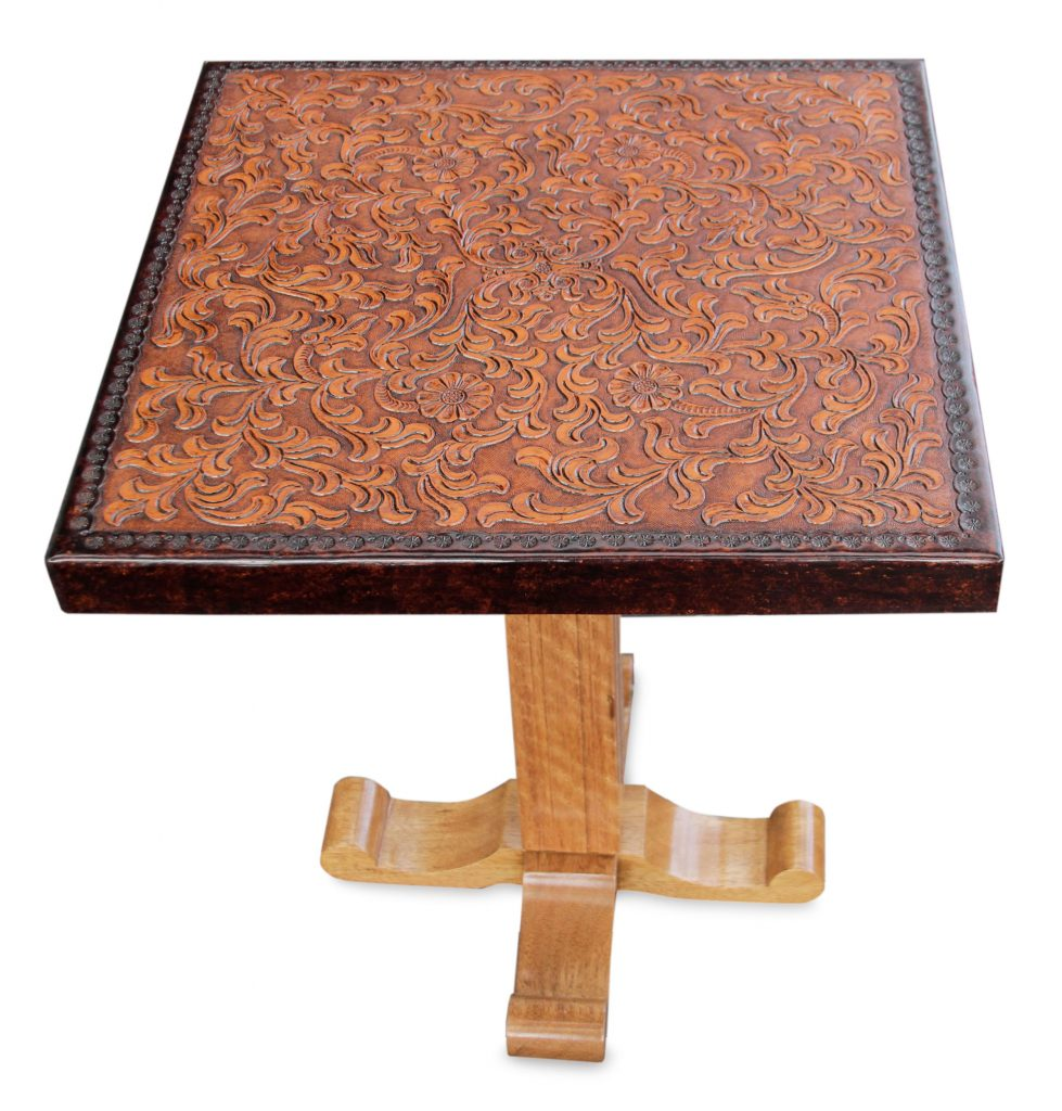 Colonial Wood Leather Brown Side Table Furniture, 'Colonial Marigold'