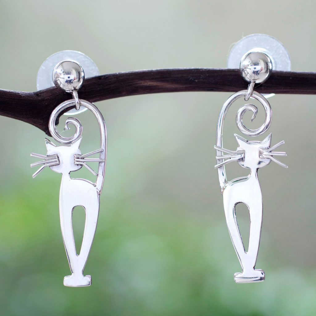 Taxco Silver Kitty Cat Earrings, 'Taxco Cat' Sterling dangle posts NOVICA Mexico