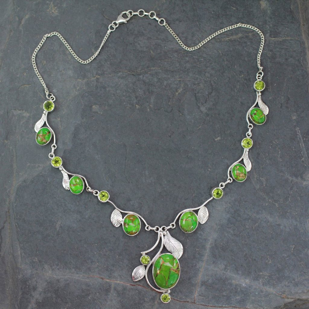 Green Turquoise and Peridot Handmade Necklace from India, 'Dew Blossom' Sterling silver beaded chain NOVICA Fair trade
