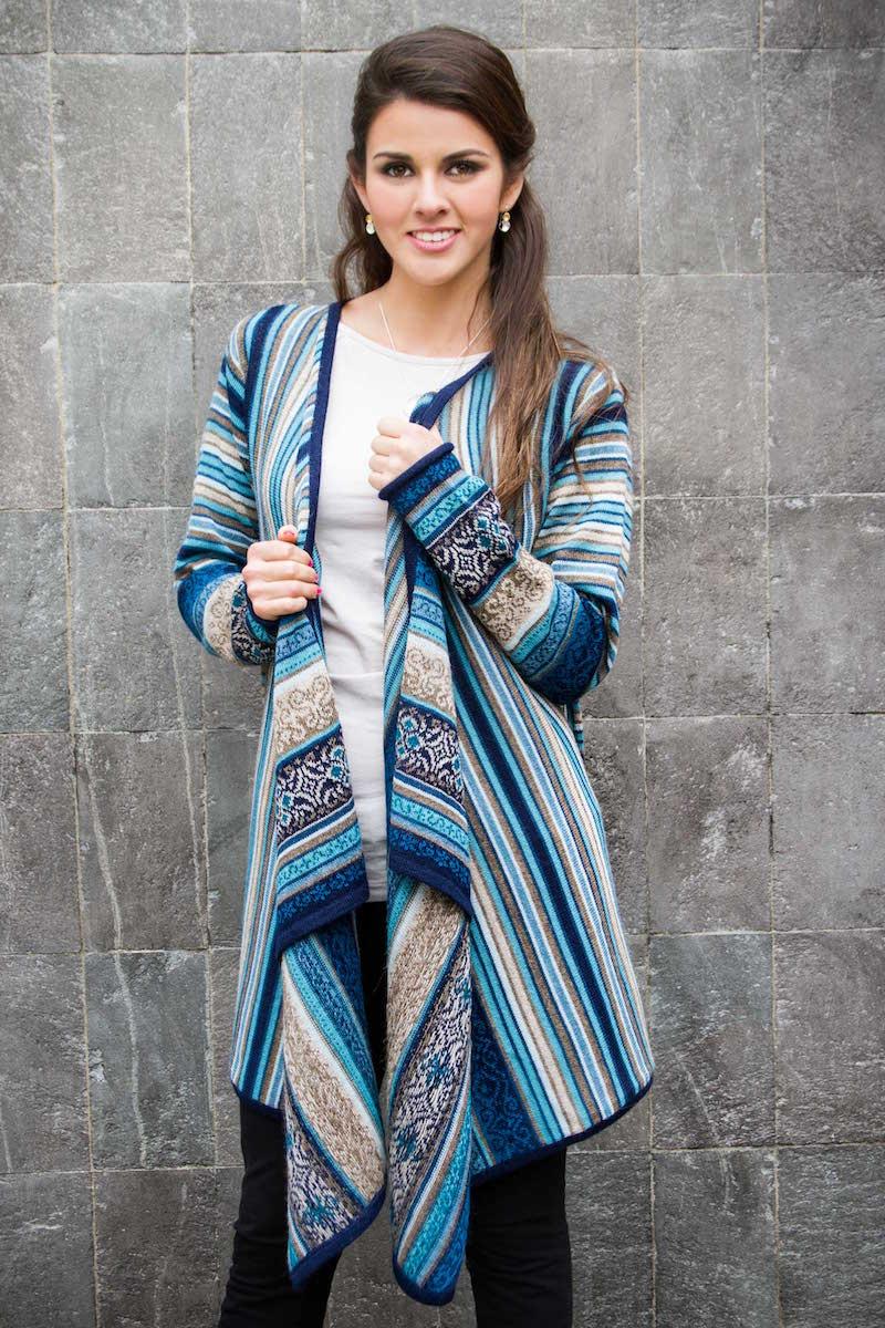 100% Alpaca Open Front Cardigan in Shades of Blue, 'Stellar Blue' Peru Hand Crafted NOVICA Fair Trade