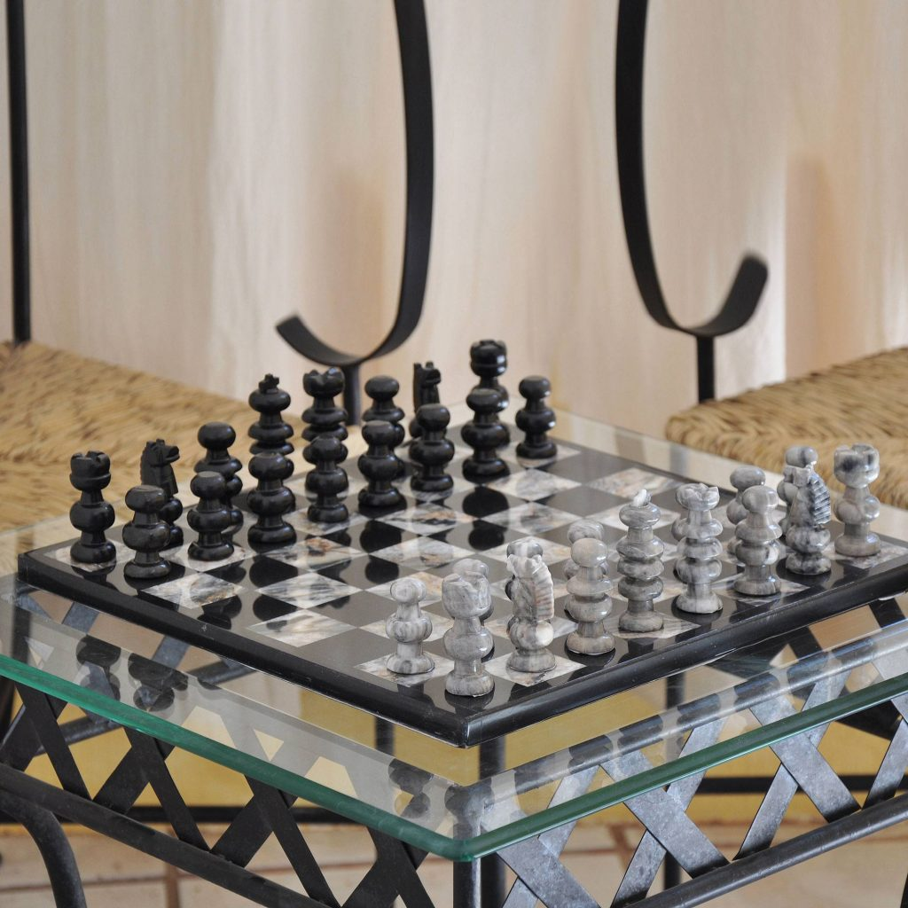 """Hand Carved Marble Chess Set, """"Sophisticate"""""""