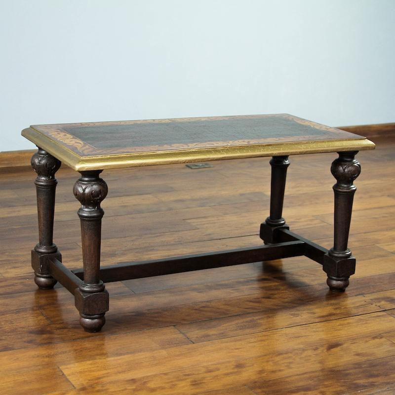 Antique Peru Parota Wood Coffee Table Hand Carved Gilded Fair Trade NOVICA