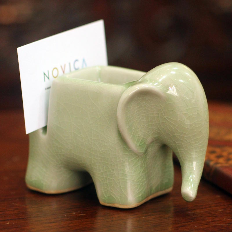 Celadon Ceramic Card Holder 'Green Elephant' paper clips professional gifts NOVICA