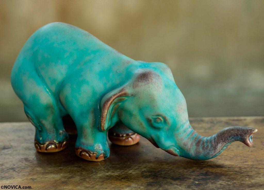 ceramic-statuette-turquoise-elephant-sawasdee2 Celadon ceramic turquoise elephant bowing yoga sawasdee meditation figurine collectible fair trade NOVICA