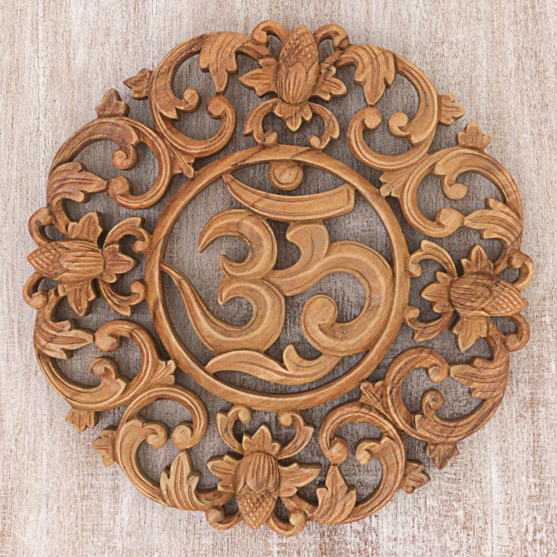 Flower Om Wood Relief Wall Panel Art Hand Carved NOVICA Fair Trade