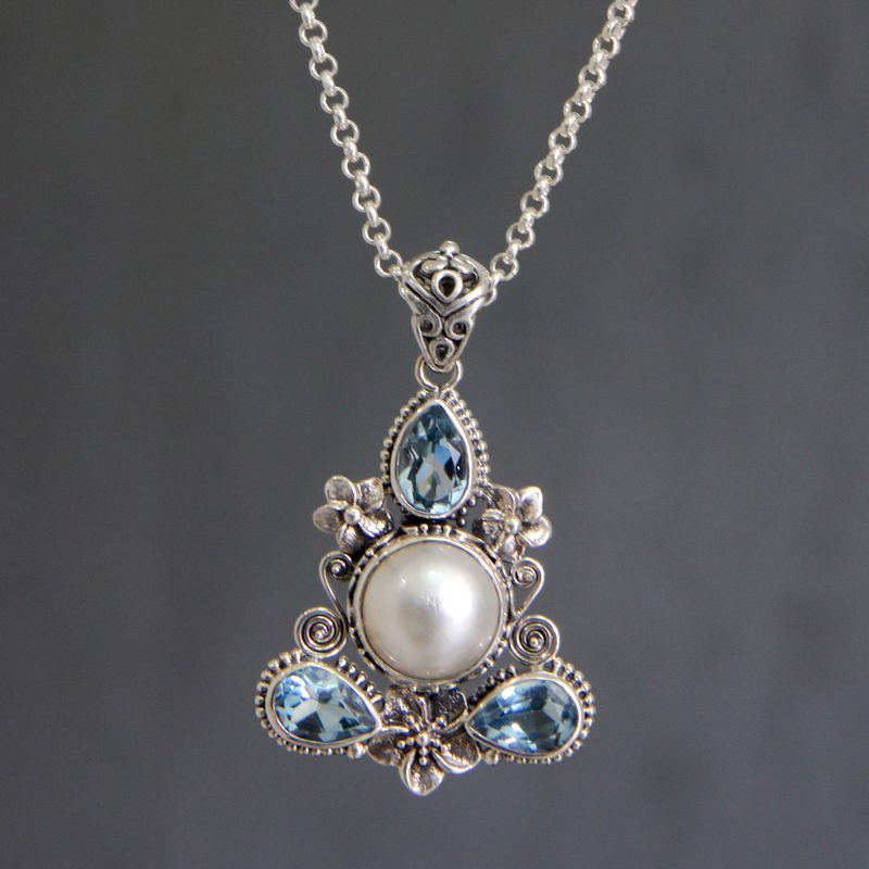 frangipani trio pearl and blue topaz-necklace intricate sterling silver pendant and chain NOVICA