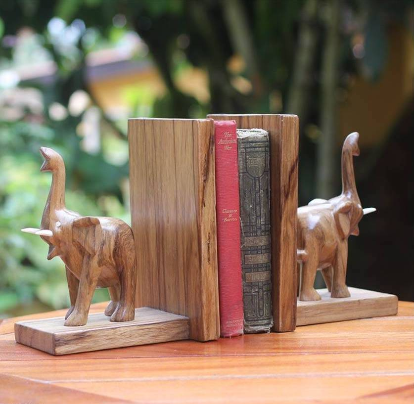 """Hand Carved Wood Bookends from Africa (Pair), """"Good Luck Elephant"""""""