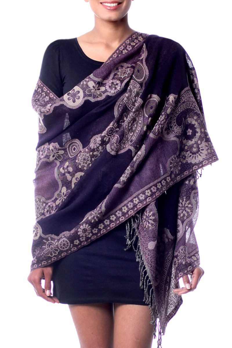 Jamawar Wool Style Wool Shawl Wrap in Pale Purple over Black, 'Lavender Extravaganza' NOVICA India Fair Trade Hand Woven