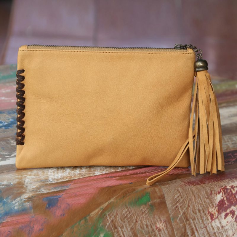 Leather wristlet clutch bag Cool Caramel tassel bali handmade NOVICA