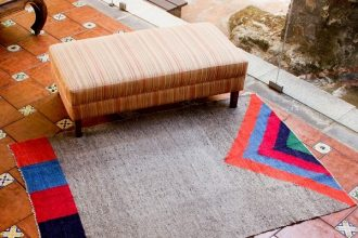 Novica-Wool rug- Volcano in Color