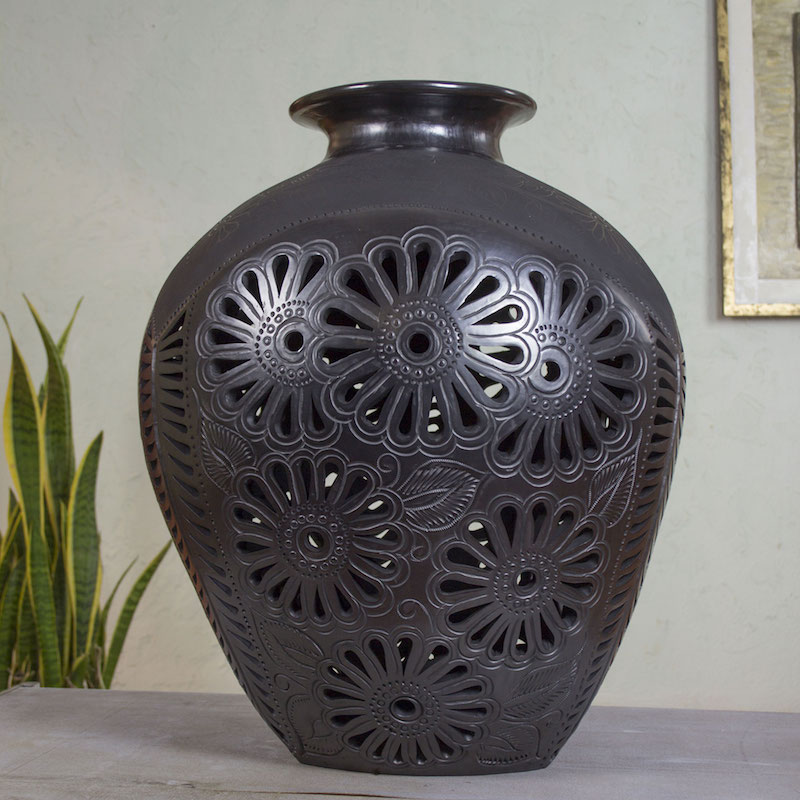 oaxaca black pottery decorative ceramic vase black marigold Artisan crafted collectible display art