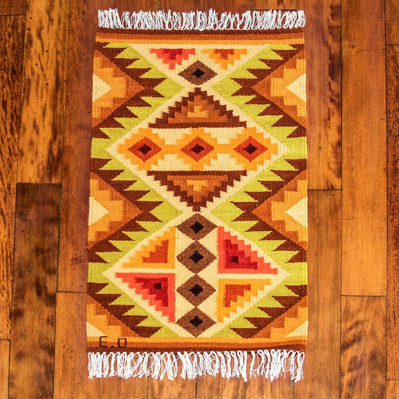 Yellow Geometric Handwoven Andean Wool Rug 2 x 3 Splendid Inca'