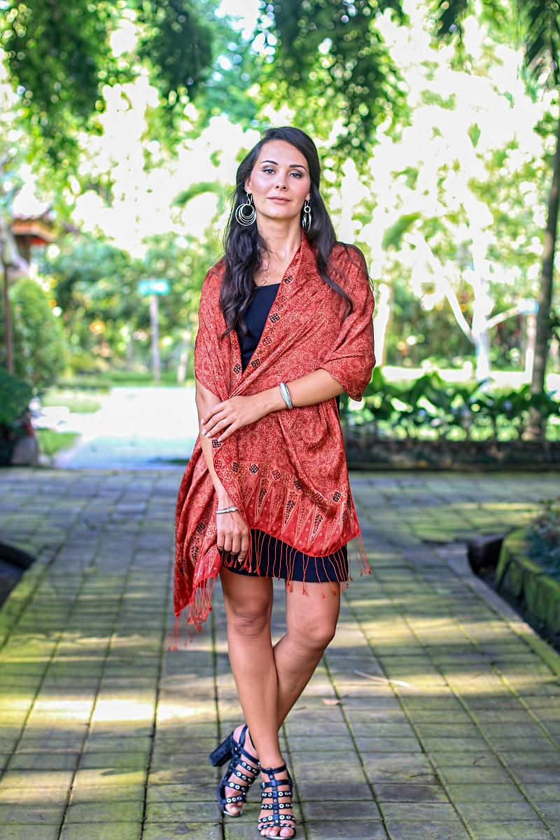 Balinese Hand-Stamped Batik Orange Silk Shawl, 'Romantic Sunset' NOVICA Fair Trade