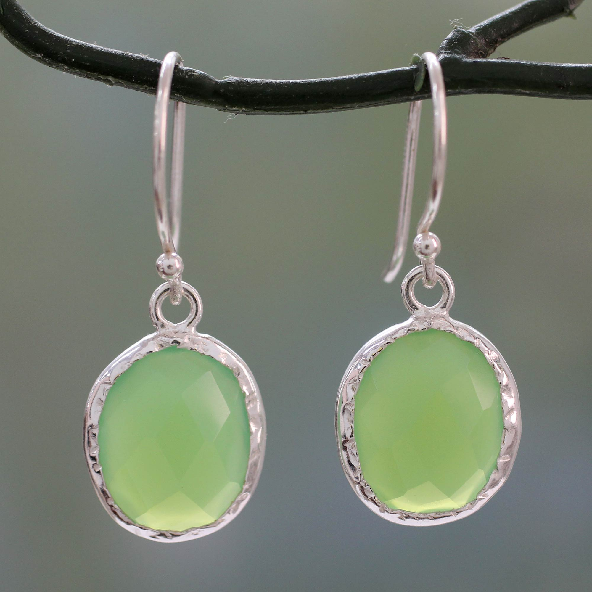 Hand Crafted Green Onyx and Sterling Silver Earrings, 'Leafy Beauty'