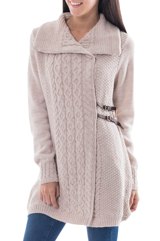 Alpaca Blend Beige Long Cardigan Wrap Sweater, 'Braids in Beige' Peru NOVICA Fair Trade
