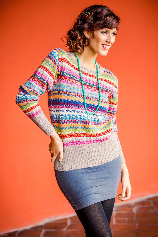 Alpaca Art Knit Pullover from Peru, 'Fiesta in Ica' NOVICA Fair Trade