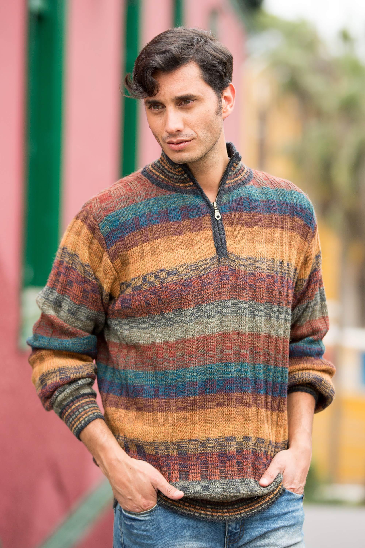 Peruvian 100% Alpaca Men's Zip-Turtleneck Hand Knit Sweater, 'Voyager'