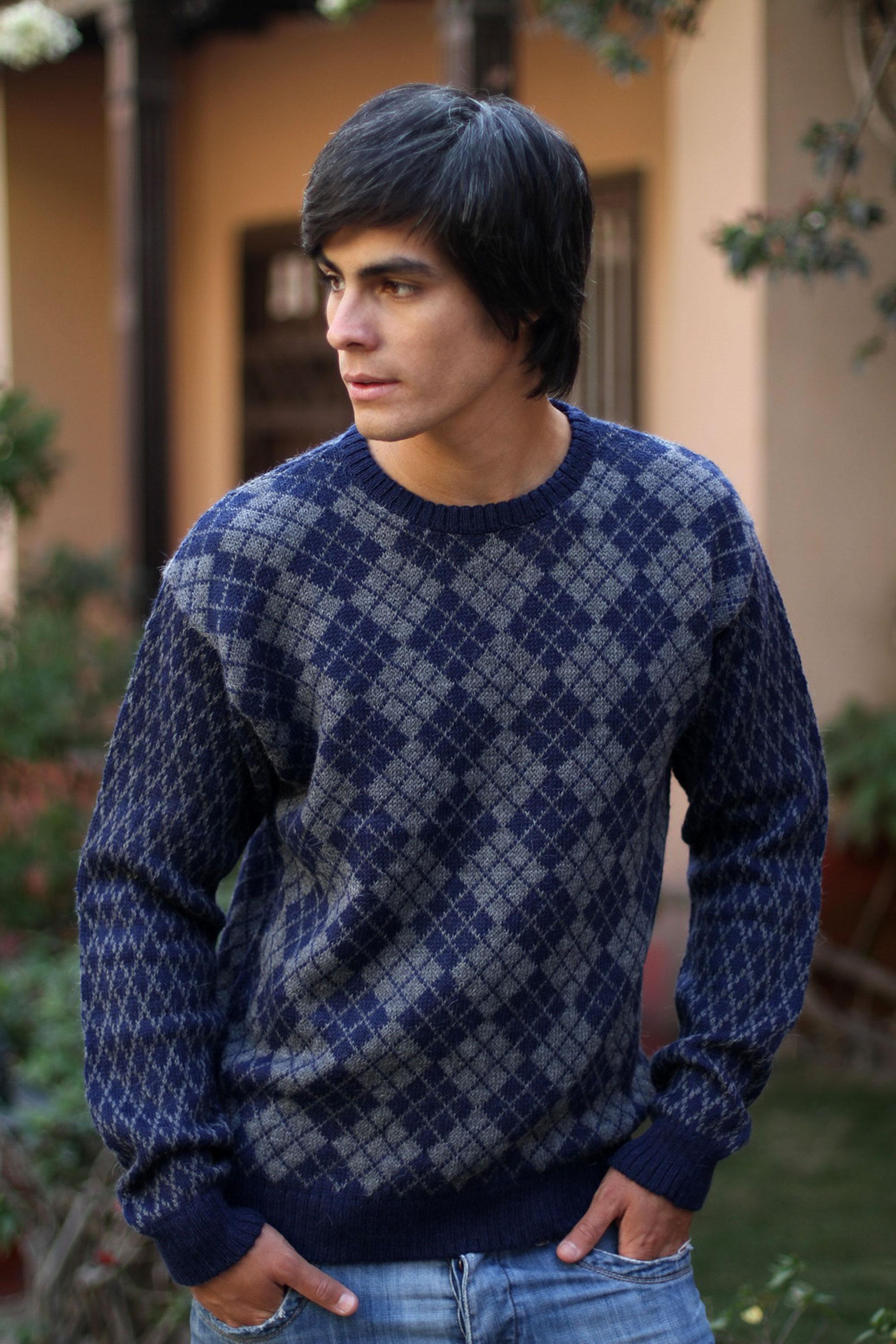 Men's Geometric Alpaca Patterned Pullover Sweater, 'Blue Argyle'