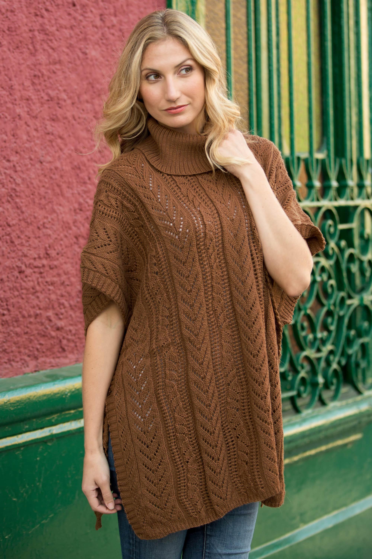 Ponchos versatile outerwear Alpaca Blend Poncho from Peru, 'Tan Dreams' NOVICA Fair Trade