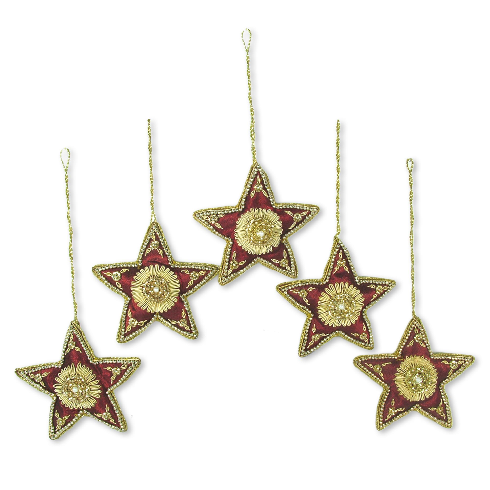 Red Star Shaped Beaded Tree Ornaments from India (Set of 5), 'Scarlet Stars' NOVICA Fair Trade