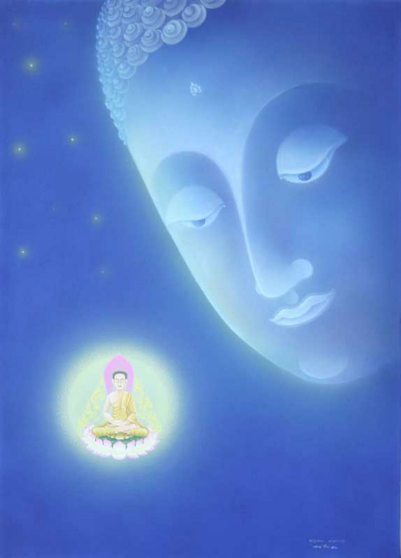 The Nirvana by Poovadol Fine art surrealist buddha painting