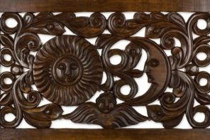 Artisan Crafted Pine Wood Wall Panel with Sun and Moon, 'The Angel and the Stars'