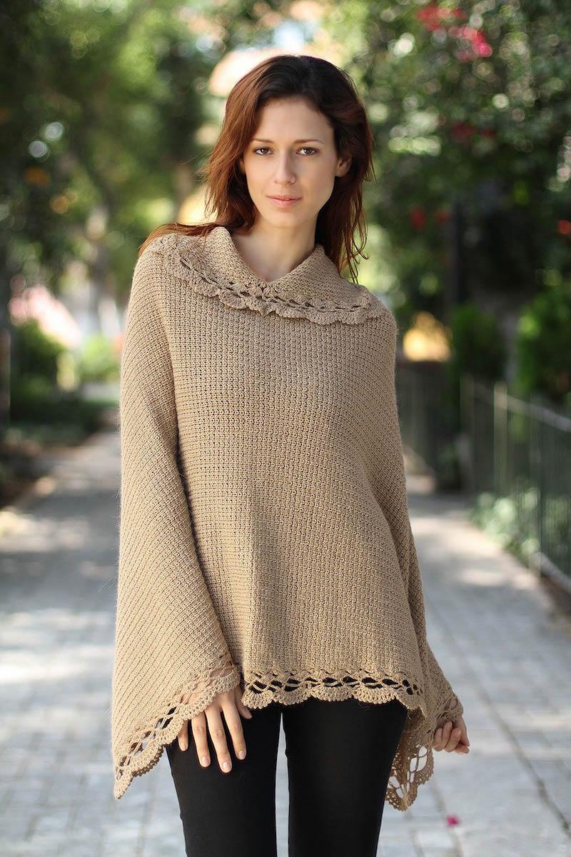 Handmade Alpaca Wool Blend Knit Poncho, 'Golden Camel'