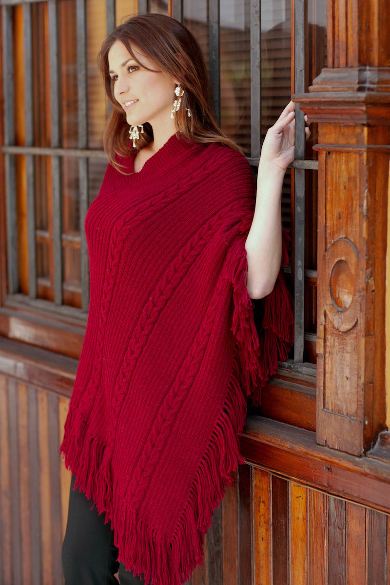 Hand Crafted Peruvian Alpaca Wool Women's Poncho, 'Red Latitudes'