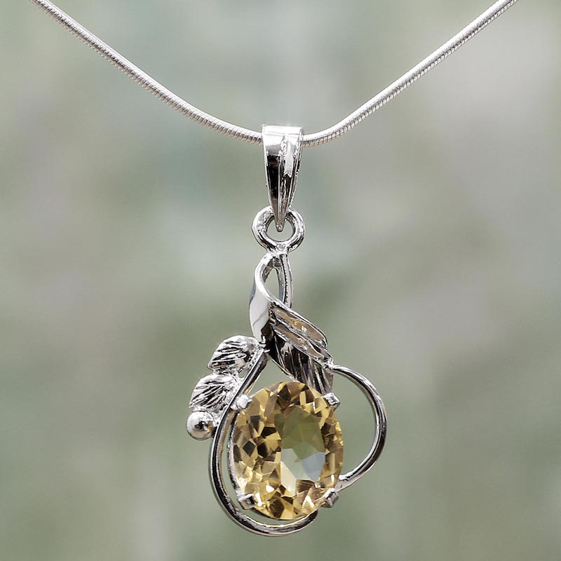 Sterling Silver and Topaz Necklace Modern Jewelry, 'Golden Majesty' NOVICA Fair trade