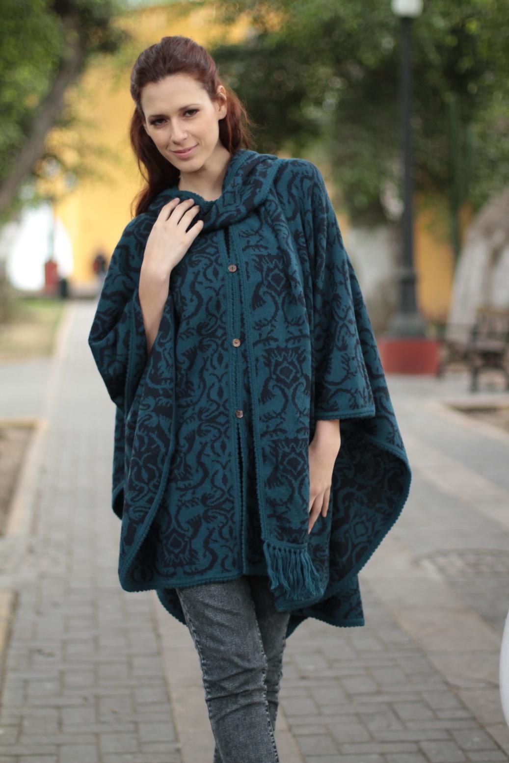 Unique Women's Alpaca Wool Blend Patterned Poncho, 'Lima Flora'