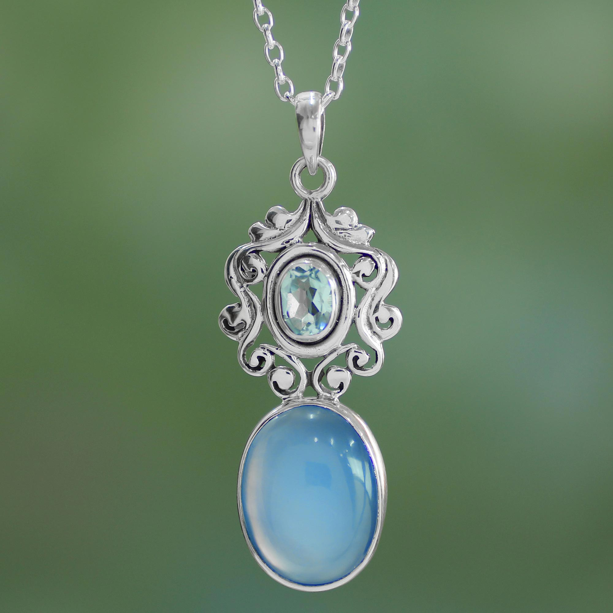 Chalcedony and blue topaz pendant necklace, 'Harmonious Blue' sterling silver chain NOVICA fair trade