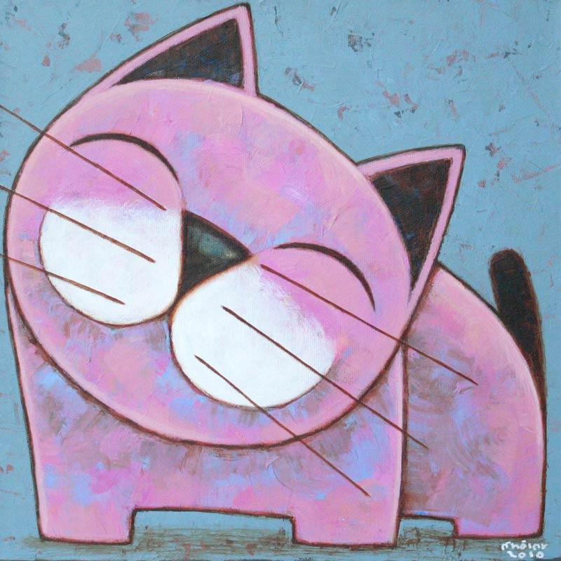 Naif Cat Painting, 'Wonderful Day' Fine Art NOVICA Fair Trade