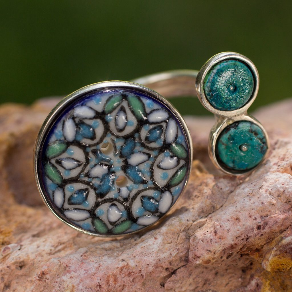 Sterling silver and ceramic wrap ring, 'Sublime Serenity' Button Modern Contemporary NOVICA Fair trade