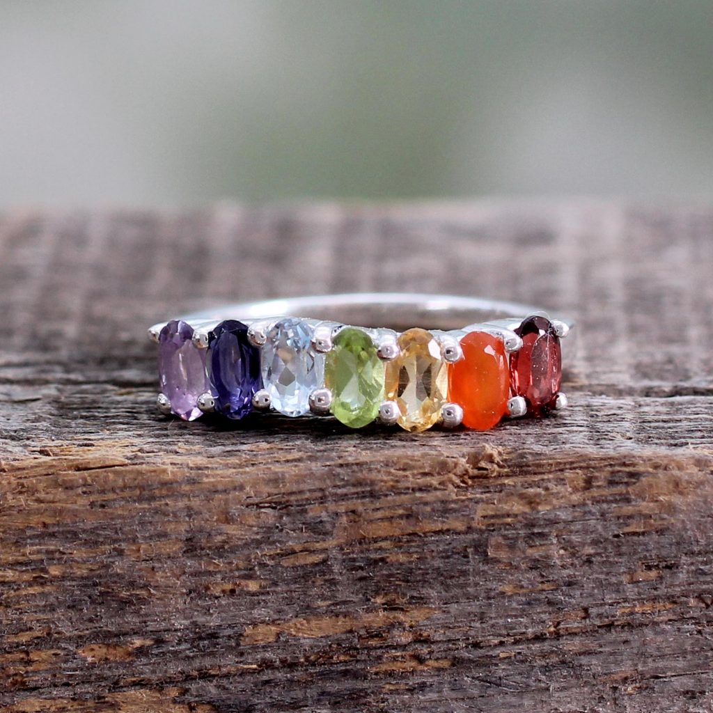 Multi Gemstone Sterling Silver Ring Chakra Jewelry, 'Positivity' Fair Trade