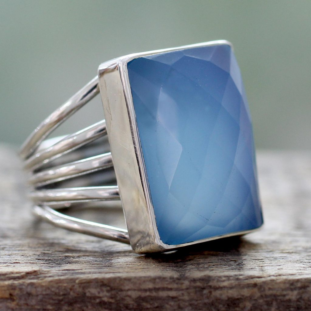 Artisan Crafted Chalcedony and Sterling Silver Cocktail Ring, 'Sky Reflection'