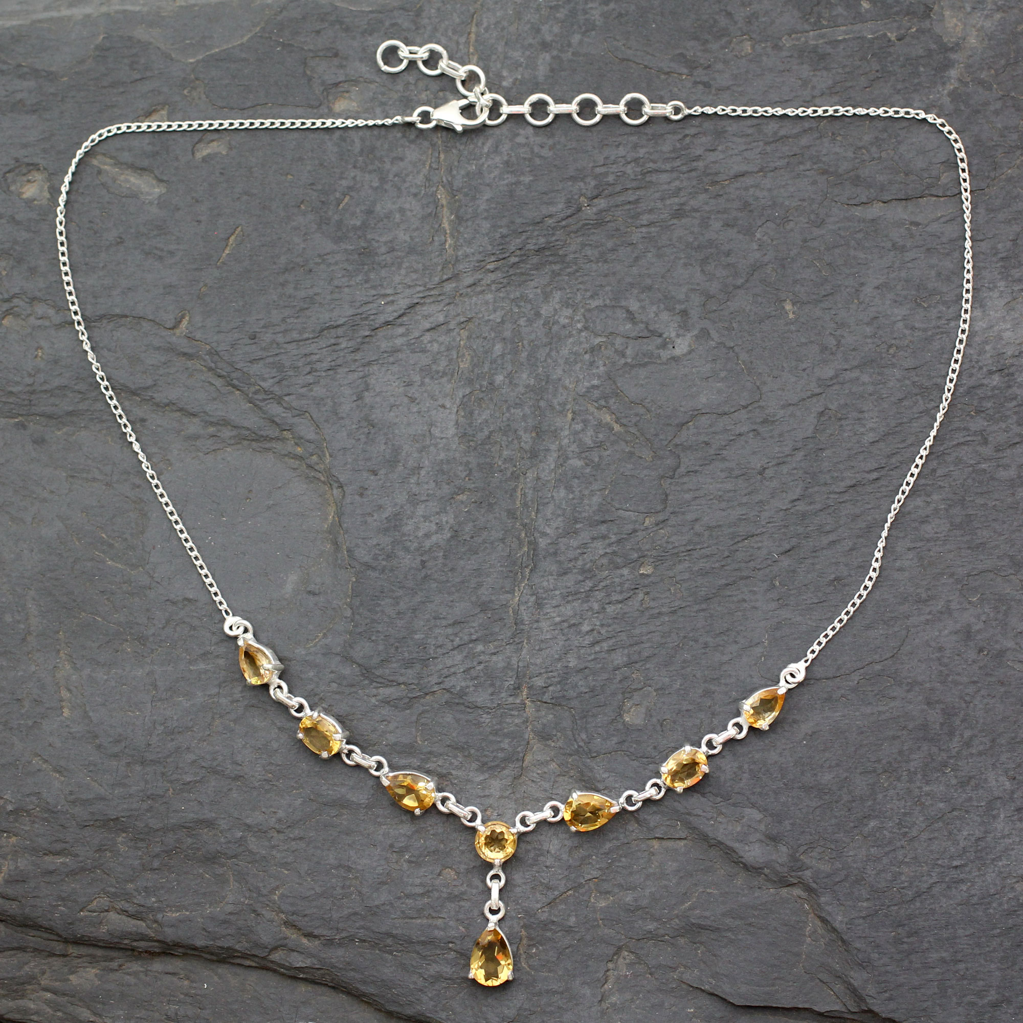 Citrine Y necklace, 'Golden Princess' Yellow gemstone sterling silver adjustable chain