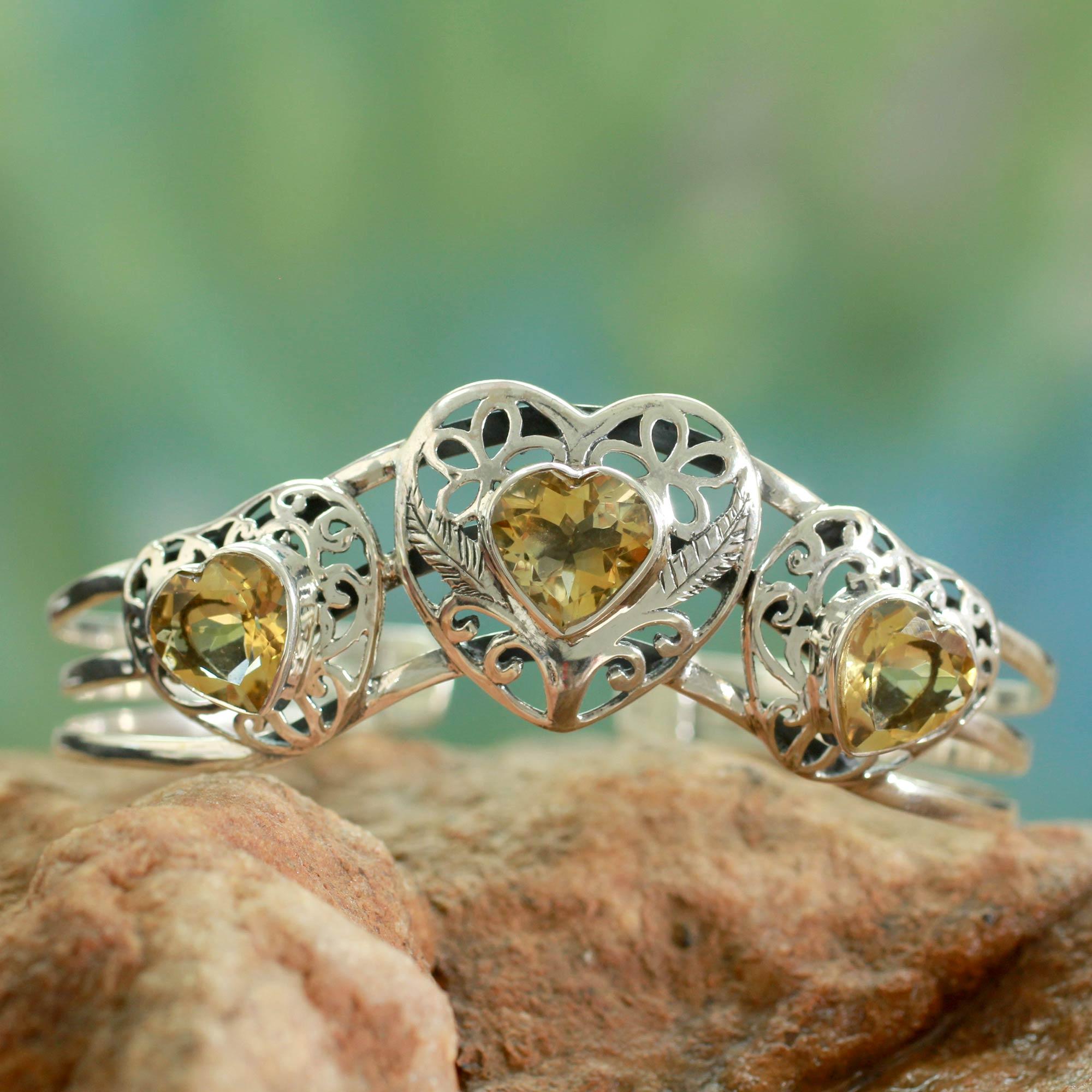 Citrine cuff bracelet, 'Golden Hearts' sterling silver artisan-made NOVICA Fair trade