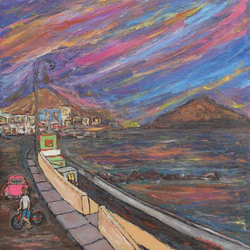 Cityscape at Dawn Signed Painting from Peru Art, 'San Bartolo Diurnal' Fine Art NOVICA Fair Trade