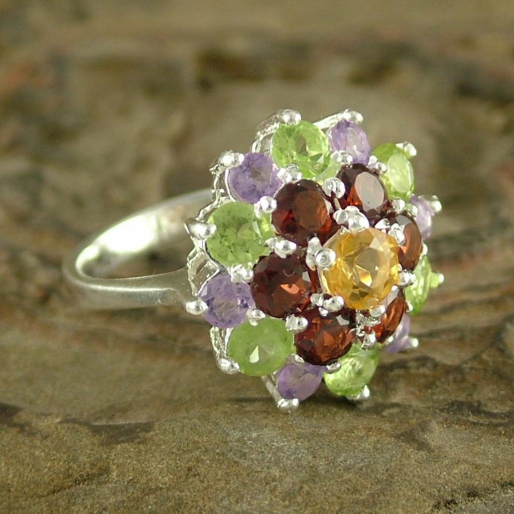Amethyst and Garnet Sterling Silver Cluster Ring from India, 'Floral Bouquet' citrine peridot