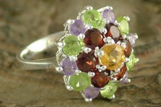 Amethyst and Garnet Sterling Silver Cluster Ring from India, 'Floral Bouquet'