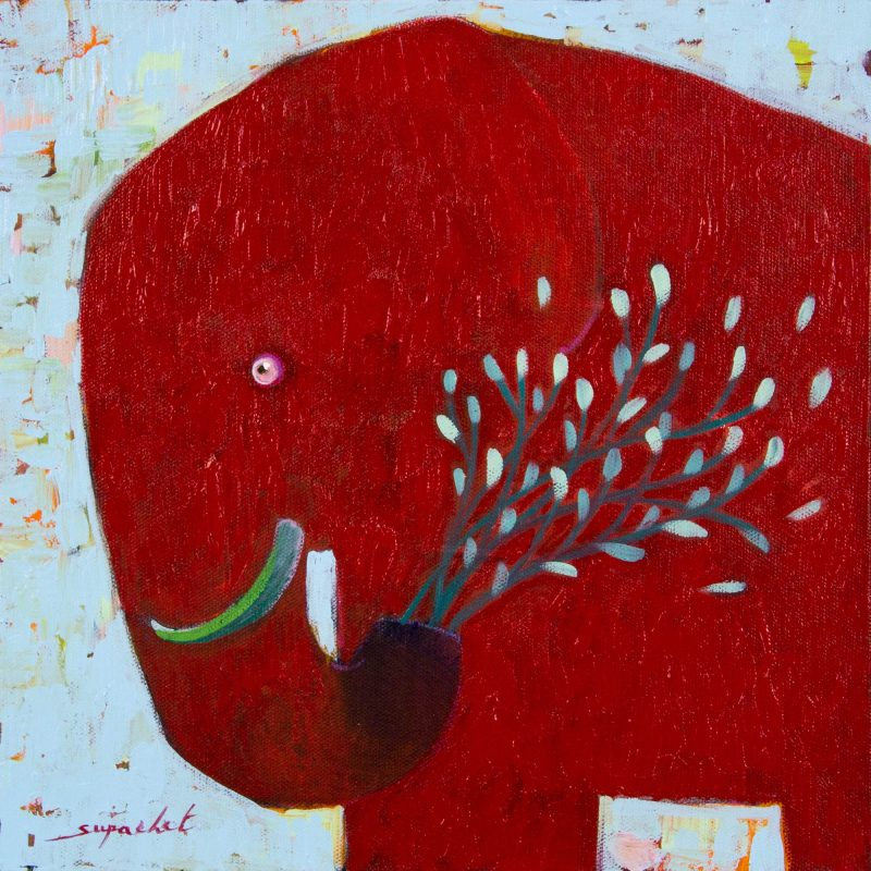 Original Signed Thai Red Elephant Painting, 'Blue Blooming' Naif Fine Art Fair Trade NOVICA