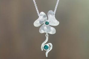 Sterling Silver Flower Necklace with Chrysocolla Accents, 'Dawn Bloom'