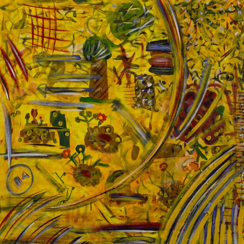 Colorful Brazilian Abstract Naif Landscape Painting, 'Forest of Dreams' NOVICA Fine Art Fair Trade