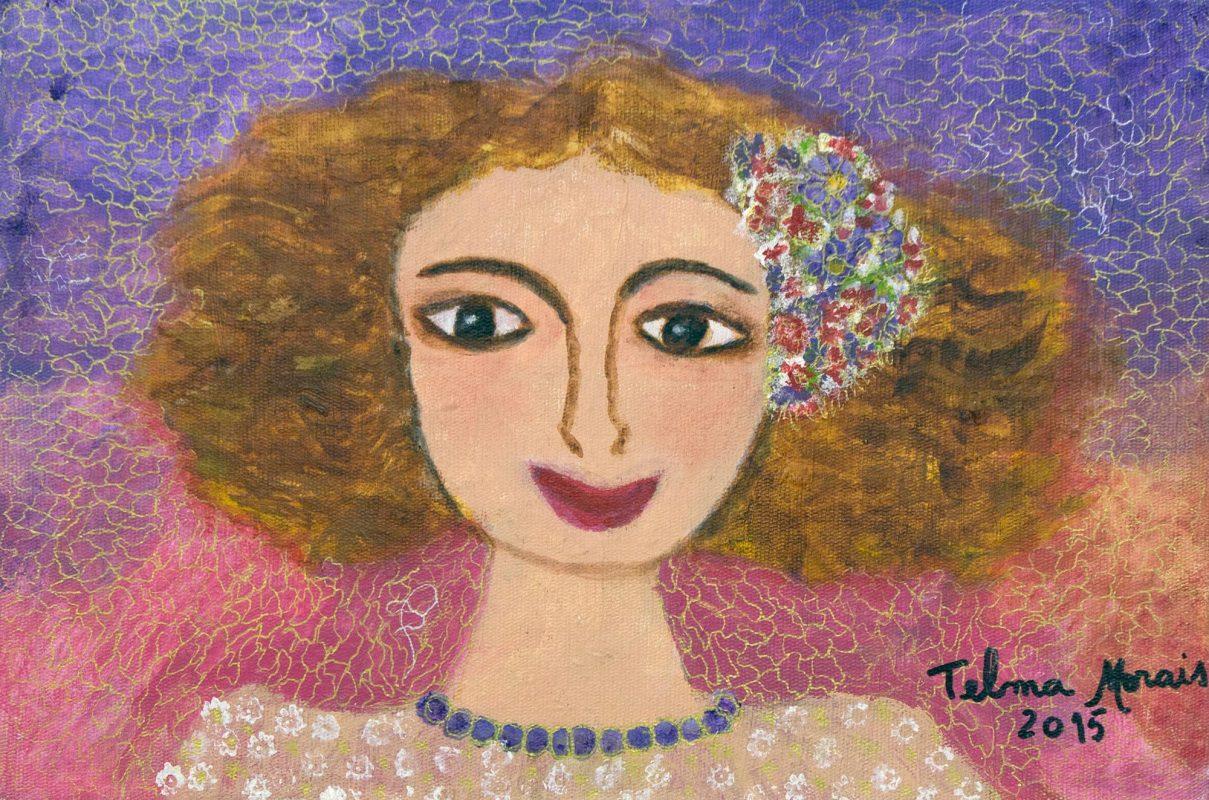 Colorful Signed Naif Portrait of a Brazilian Girl, 'Girl of the Savannah'