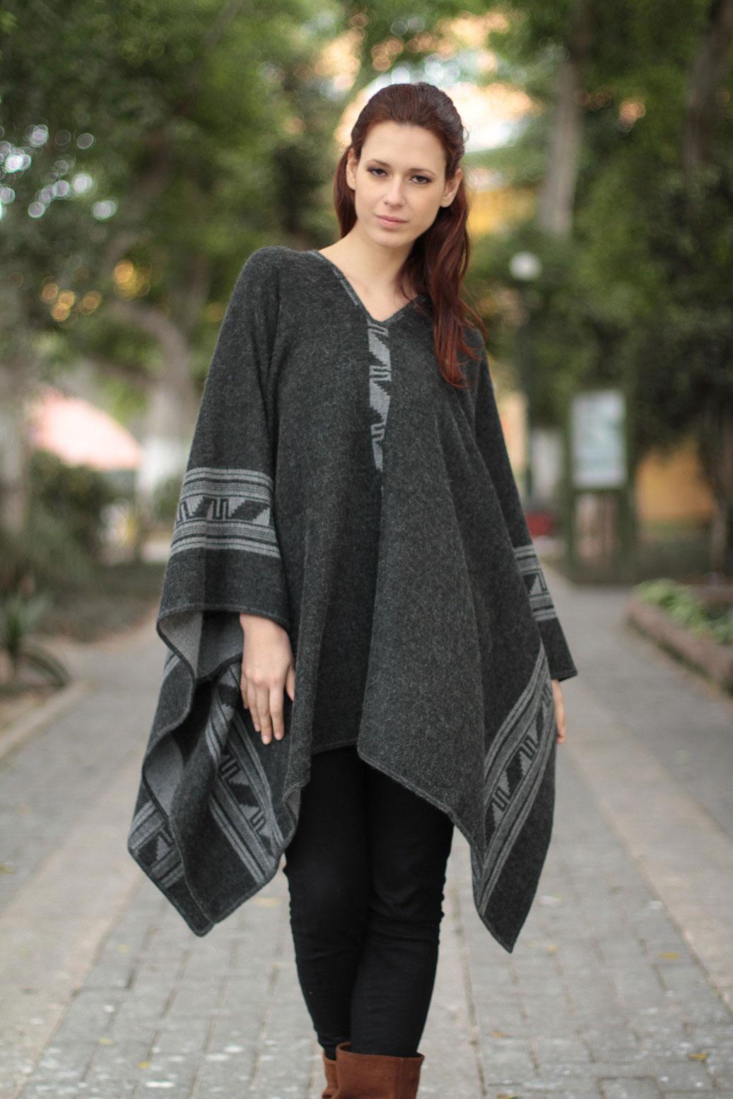 functional fashion Alpaca Wool Blend Reversible Poncho, 'Gray Black Glyphs'