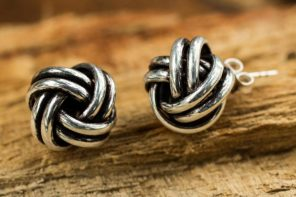 Artisan Crafted Silver Stud Earrings, 'Double Love Knot'