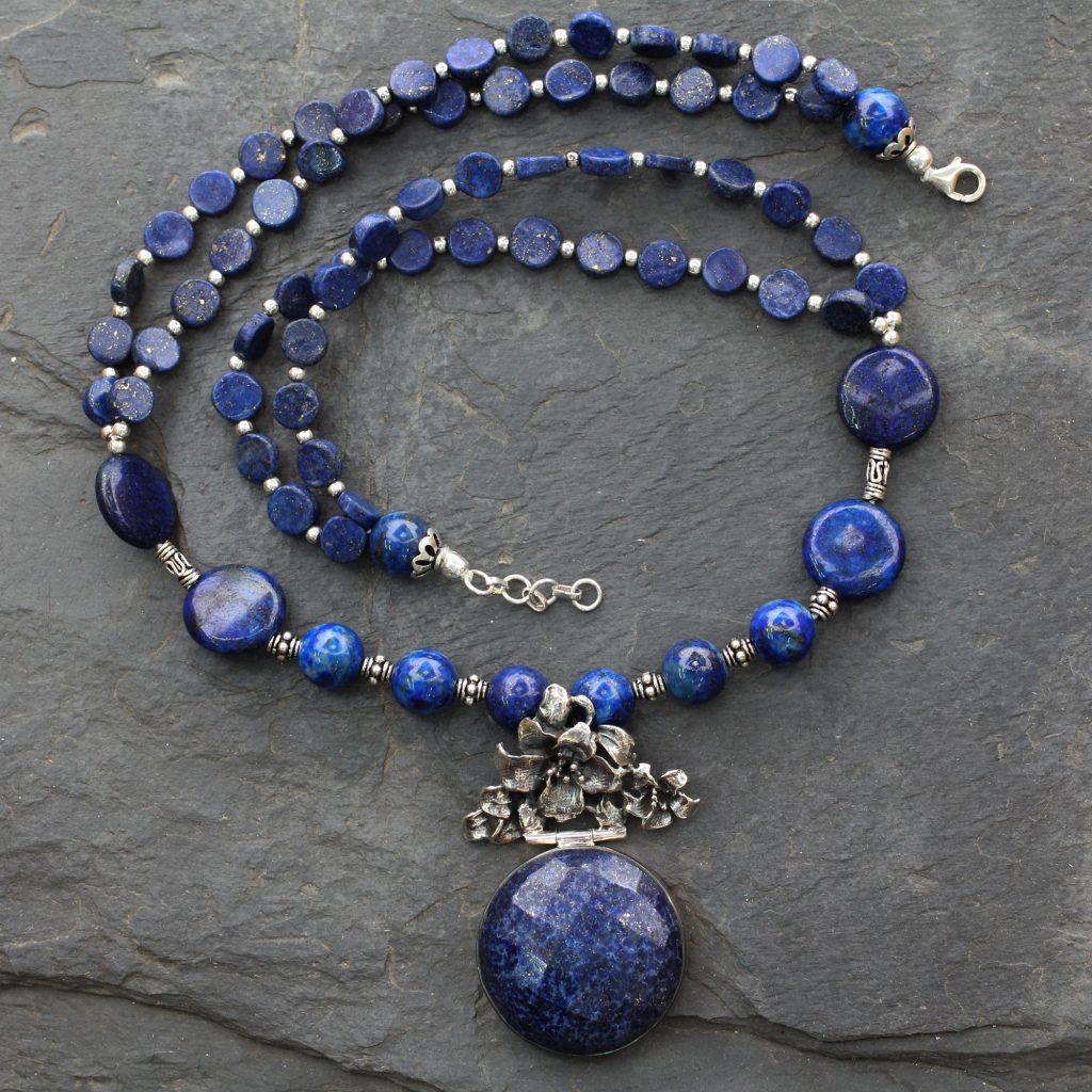 Handmade Sterling Silver Necklace Lapis Lazuli Jewelry, 'Midnight Lily' NOVICA Fair Trade